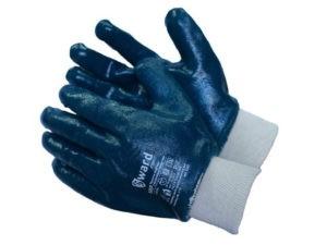 Перчатки рабочие, трикотажные с покрытием из синего нитрила, трикотажная манжета.