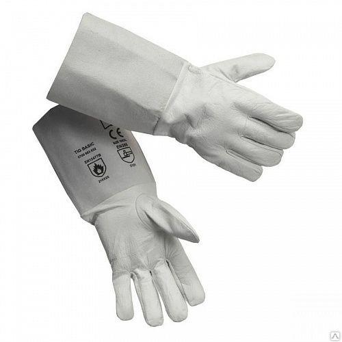 Краги (перчатки) кожаные (спилок) серые